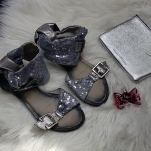South pole silver sequins sandals
